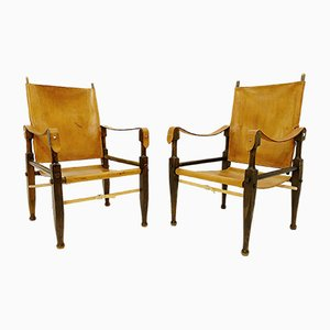 Vintage Safari Chairs by Wilhelm Kienzle for Wohnbedarf, 1950s, Set of 2