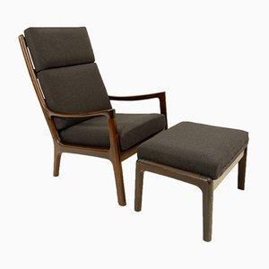 Vintage Senator Sessel mit hoher Rückenlehne & Fußhocker von Ole Wanscher für Cado