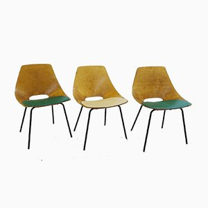 Vintage Tonneau Esszimmerstühle von Pierre Guariche für Steiner, 3er Set