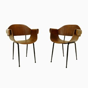 Vintage Italian Plywood Armchairs, Set of 2