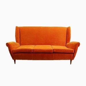 Orangefarbenes italienisches Sofa, 1960er