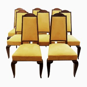 Vintage Walnut and Alcantara Dining Chairs, Set of 8