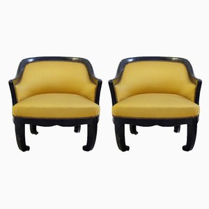 Mid-Century Black Lacquered Armchairs, Set of 2