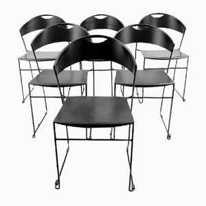 Vintage Black Metal Dining Chairs, Set of 6