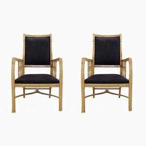 Schwedische Vintage Armlehnstühle aus Birke, 2er Set