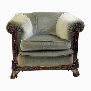 Vintage Belgian Green Velvet Armchair by Maison Franck