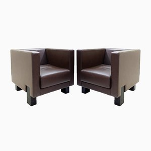 Vintage Moji Brown Leather Armchairs by Shigeru Uchida for Poltrona Frau, Set of 2