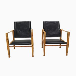 Black Leather Safari Armchairs by Kaare Klint for Rud. Rasmussen, 1960s, Set of 2