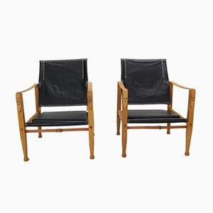 Safari Armlehnstühle mit Sitzfläche aus schwarzem Leder von Kaare Klint für Rud. Rasmussen, 1960er, 2er Set