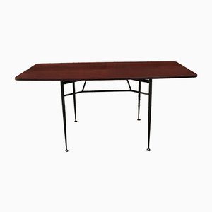 Italian Rosewood and Black Metal Dining Table, 1960s