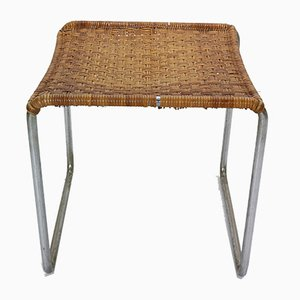 Rattan and Chrome Footstool by Willem Hendrik Gispen for Gispen, 1930s