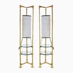 Lámparas de pie italianas vintage de latón y bambú. Juego de 2
