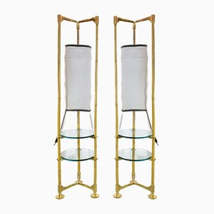 Vintage Italian Brass & Bamboo Floor Lamps, Set of 2