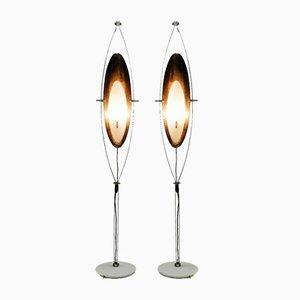 Lámpara de pie vintage de mármol blanco de Goffredo Reggiani