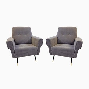 Vintage Italian Gray Velvet Armchairs, Set of 2
