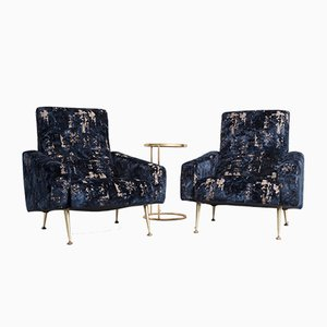 French Velvet Lounge Chairs, 1950s, Set of 2