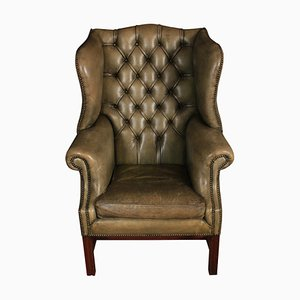 Leather Wing Chair, 1920s