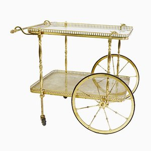 Vintage Brass Bar Cart by Maison Jansen