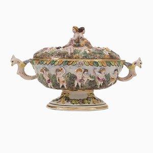 Taza de servicio italiana de porcelana de Capodimonte, años 50