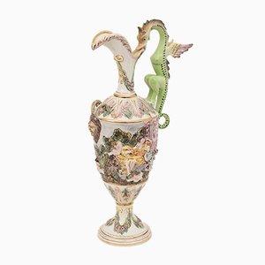 Jarra grande de porcelana de Capodimonte, años 50
