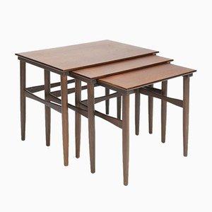 Danish Dark Teak Nesting Tables, 1950s