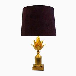 Lampe de Bureau Lotus Vintage en Laiton par Maison Charles