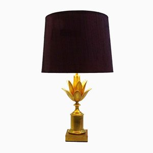 Vintage Lotus Brass Table Lamp by Maison Charles