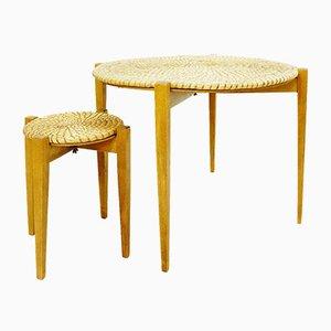 Mesas auxiliares vintage de paja y madera. Juego de 2