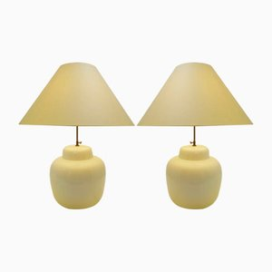 Large Vintage White Ceramic Table Lamps, Set of 2