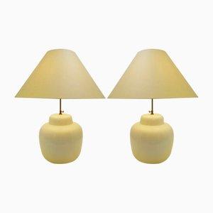 Weiße große Vintage Tischlampen aus Keramik, 2er Set