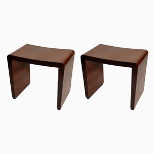 Art Deco Rosewood Stools from Meroni e Fossati, 1930s, Set of 2