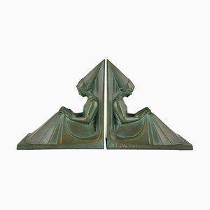 Fermalibri Art Deco di Max Le Verrier, anni '30, set di 2