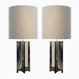 Lámparas de mesa vintage grandes de cromo. Juego de 2