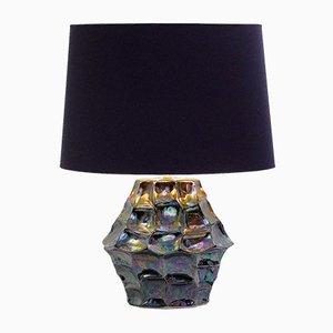 Lámpara de mesa vintage de cerámica iridiscente
