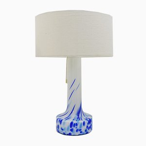 Lámpara de mesa vintage de vidrio blanco y azul