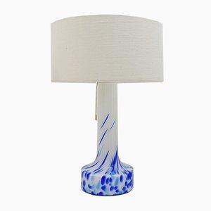 Vintage Tischlampe aus Glas in Weiß & Blau