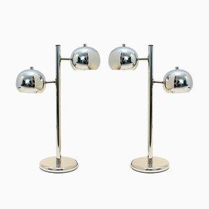 Lámparas de mesa vintage cromadas con dos luces. Juego de 2