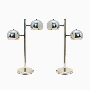 Vintage Double Headed Chrome Table Lamps, Set of 2