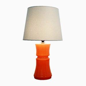 Lámpara de mesa italiana vintage de cristal de Murano naranja