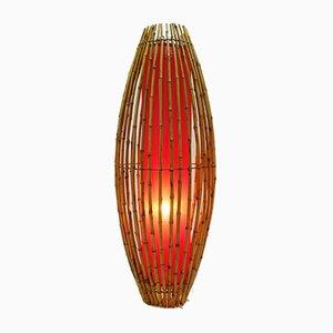 Lámpara de pie vintage de bambú