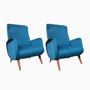 Italian Blue Armchairs, 1950s, Set of 2