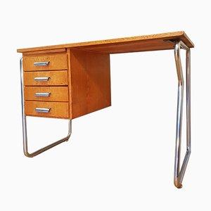 Bauhaus Schreibtisch aus Eiche & Chrom von Stolzenberg Büromöbel, 1960er