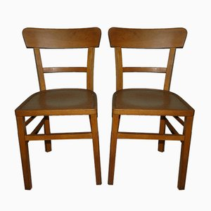 Vintage German Wooden Dining Chairs, Set of 2
