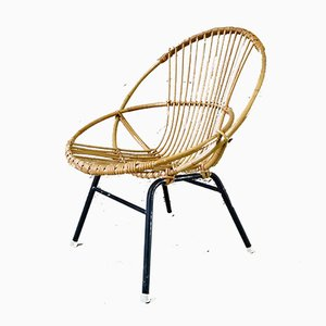 Metal and Rattan Lounge Chair, 1960s