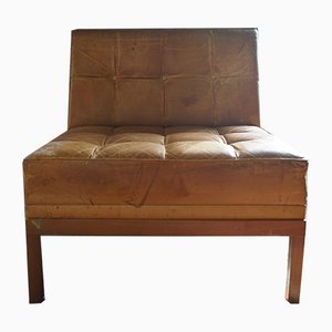 Club chair in pelle color cognac di Johannes Spalt per Wittmann, anni '60