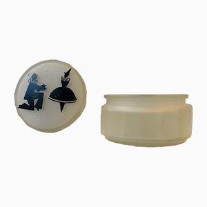 Art Déco Schmuckdose aus Milchglas, 1920er