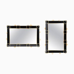 Black Glass and Brass Mirror, 1980s