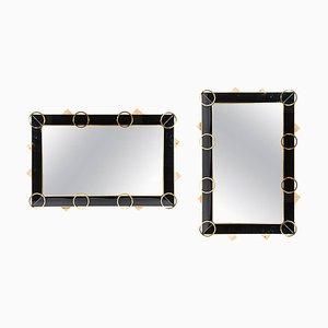 Spiegel mit schwarzem Rahmen aus Glas & Messing, 1980er