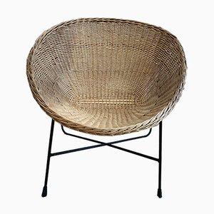Mid-Century Swedish Rattan & Black Metal Lounge Chair, 1950s