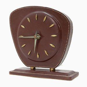 Horloge de Bureau en Cuir Surpiqué par Jacques Adnet, 1958